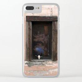 Western Window, deer skull, chippy paint, industrial art Clear iPhone Case