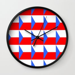 flag of Czech 3 -Czechia,Česko,Bohemia,Moravia, Silesia,Prague. Wall Clock