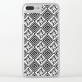 black and white symetric patterns 9- bw, mandala,geometric,rosace,harmony,star,symmetry Clear iPhone Case