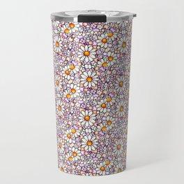 Blush Daisies and Berries Tiled Pattern Travel Mug