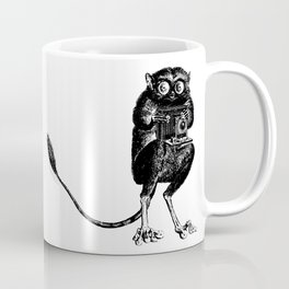 Say Cheese! | Tarsier with Vintage Camera | Black and White Coffee Mug