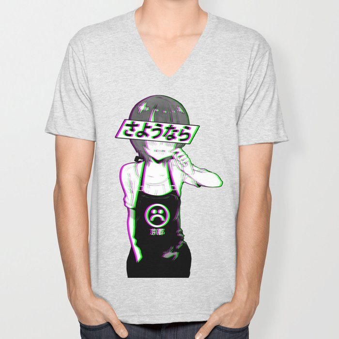 GOODBYE - Sad Japanese Anime Aesthetic Unisex V-Neck