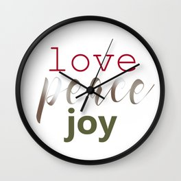 Love Peace Joy Wall Clock