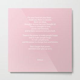 Pastel Pink Inspiration Never Give Up Metal Print
