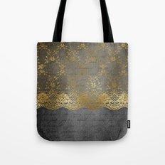 Pure elegance I- gold glitter luxury lace on black grunge background on #Society6 Tote Bag