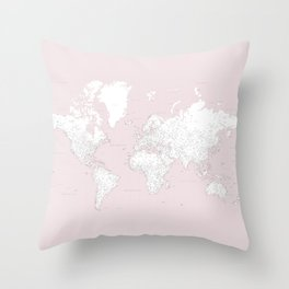 World map, highly detailed in dusty pink and white, square Throw Pillow