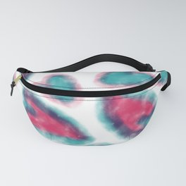 Hand painted pink red teal watercolor romantic hearts Fanny Pack