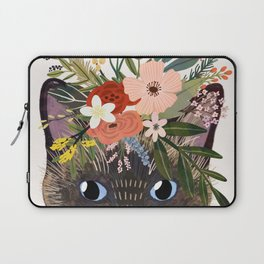 Siamese Cat with Flowers Laptop Sleeve