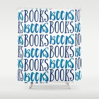 books Shower Curtains featuring Books, Books, Books by The Art of Young Adult