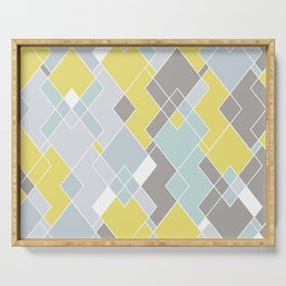 Yellow & Gray Geometric Pattern Serving Tray