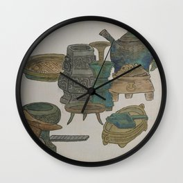 Vintage Chinese Ink and Brush Painting and Calligraphy Wall Clock