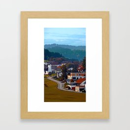 Autumn season village panorama   landscape photography Framed Art Print
