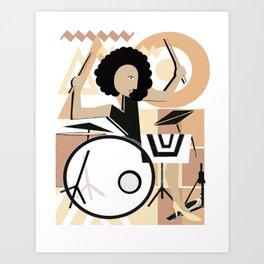 Bateria Baterista Mujer Morena Cubismo Musica Art Print