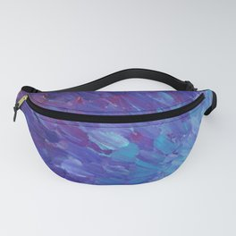 SCALES OF A DIFFERENT COLOR - Abstract Acrylic Painting Eggplant Sea Scales Ocean Waves Colorful Fanny Pack