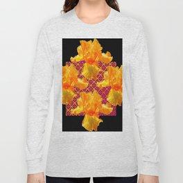 Golden Spring Iris Patterned Black  Decor Long Sleeve T-shirt
