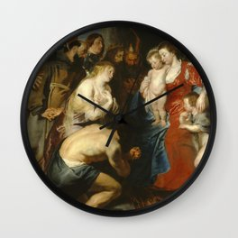 Peter Paul Rubens - Mary and Jesus with St John, worshiped by repentant sinners and saints (um 1619) Wall Clock