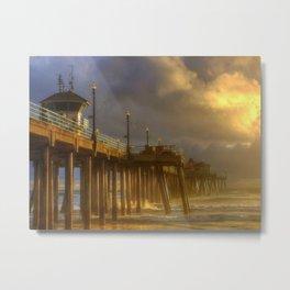 Huntington Beach Pier After The Storm Metal Print
