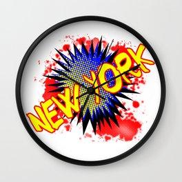 New York Comic Exclamation Wall Clock