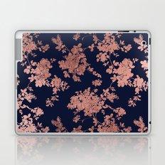 Modern elegant navy blue faux rose gold floral Laptop & iPad Skin