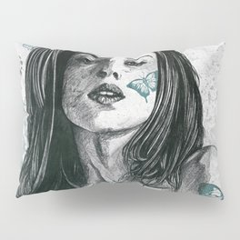 Nothing Violates This Nature: Teal (nude butterfly girl, erotic portrait) Pillow Sham