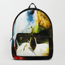 white horse face portrait watercolor splatters Backpack