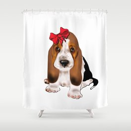 Cute puppy girl with red bow .Dog lovers gift idea  Shower Curtain