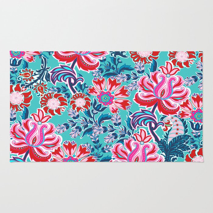 Bohemian Floral Paisley In Turquoise, Red And Pink Rug By