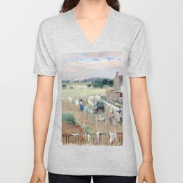 Berthe Morisot Hanging the Laundry out to Dry Unisex V-Neck