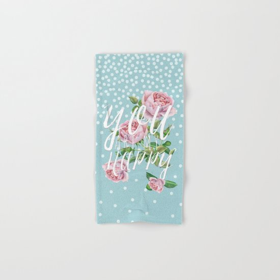 You are my happy- Roses Rose Flowers Polkadots - Vintage Design #Society6 Hand & Bath Towel