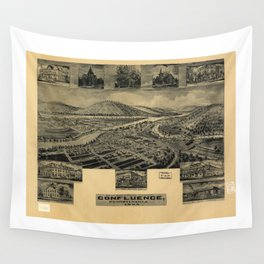 Aerial View of Confluence, Pennsylvania (1905) Wall Tapestry