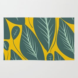 Green Leaves and Yellow Pattern Nature Design Rug