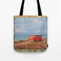 vw bus Tote Bags featuring THE ORANGE VW BUS III by Bones and Balloons