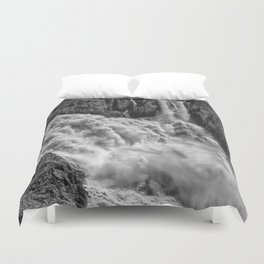 Black and White Beautiful Waterfall Duvet Cover