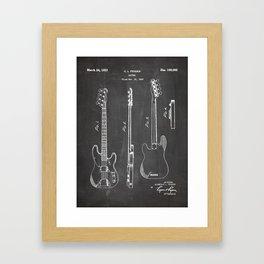 Bass Guitar Patent - Bass Guitarist Art - Black Chalkboard Framed Art Print