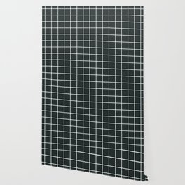 Charleston green - grey color - White Lines Grid Pattern Wallpaper