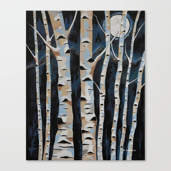 Moonlight And The Birch Canvas Print