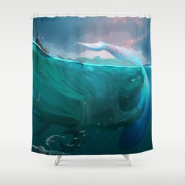Demon of Overfishing Shower Curtain