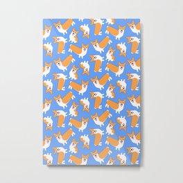 Cute Blue Pembroke Welsh Corgi Pattern Metal Print
