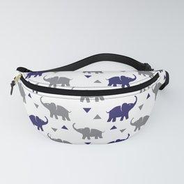 Elephants & Triangles - Gray / Navy Blue Fanny Pack