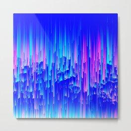 Neon Rain - A Digital Abstract Metal Print