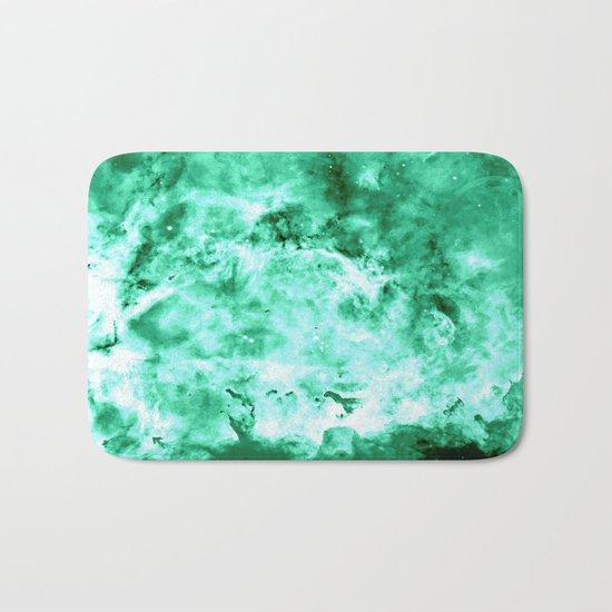 Sea Green Nebula Waves Bath Mat