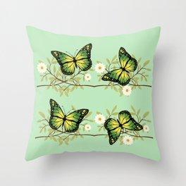 Four green butterflies Throw Pillow