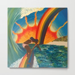 Surfing Surreal Metal Print
