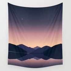 Mountain sunset reflection Wall Tapestry