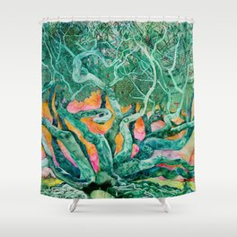 Green Tree and Sunset Watercolor Shower Curtain