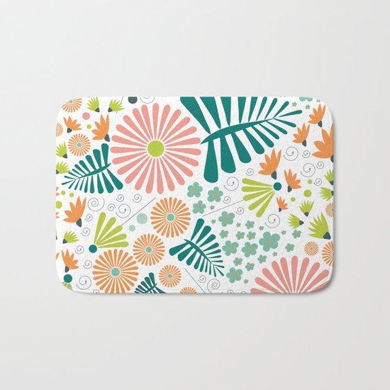 Whimsical flowers Bath Mat