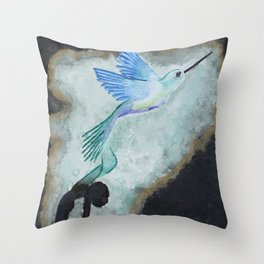 Hummingbird Rises Throw Pillow
