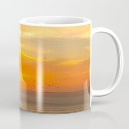 Sunset Coast with Orange Sun and Birds Coffee Mug