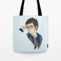 david tennant Tote Bags featuring Dr Who David Tennant by Hungry Designs