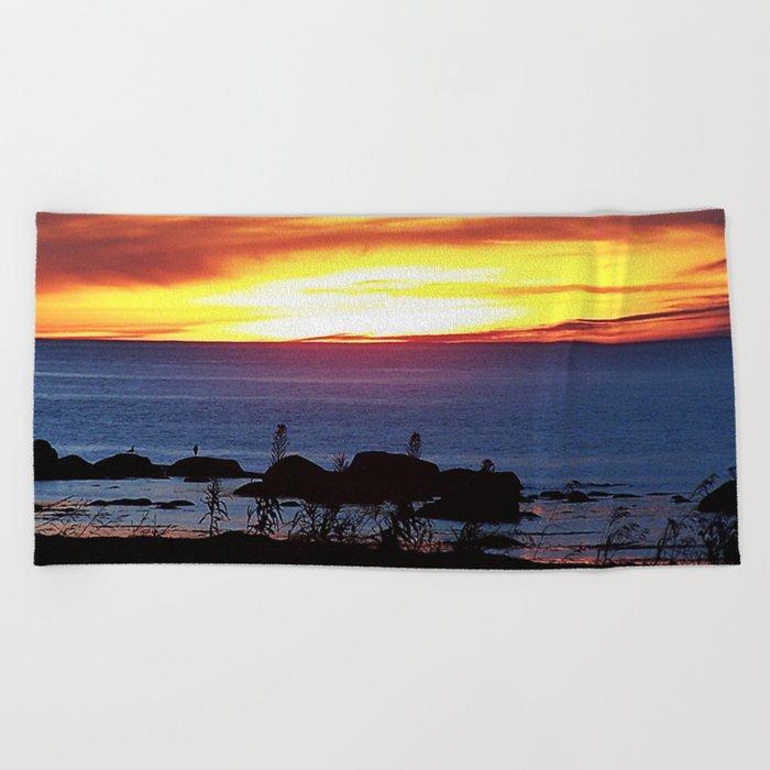 Sunset Swirling Clouds Beach Towel